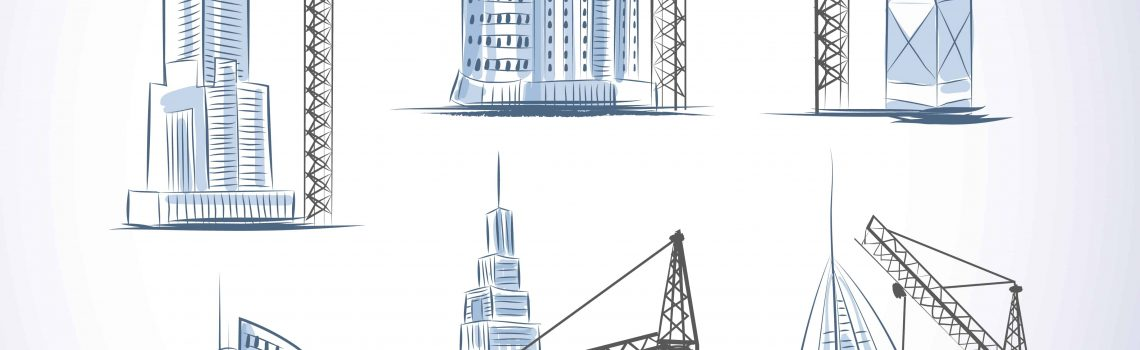 Skyscrapers buildings construction icons set with cranes isolated sketch vector illustration