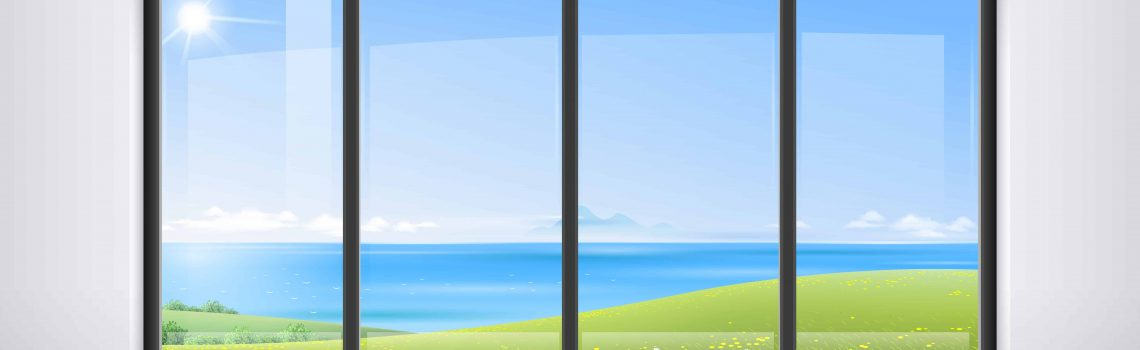 Room hotel or house, apartment, with a huge panoramic window, a door and a view of the natural green landscape. Vector graphics