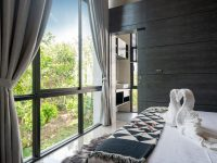 stunning view from bedroom through window glass and blind curtai